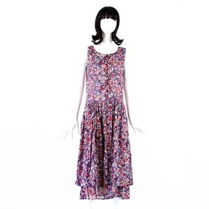 VTG 80's ZASHI India Sheer Floral Print Dress
